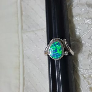 Sterling Silver Ring W/ Simulated Blue Opal Inlay